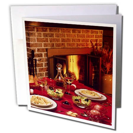 3dRose TDSwhite – Farm and Food - Food Dinner Table Set Fireplace Background - 12 Greeting Cards with Envelopes (gc_285137_2) by 3dRose