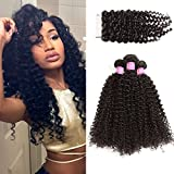 ISEE Hair Virgin Malaysian Deep Curly Jerry Curly Human Hair 3 Bundles With 4×4 Free Part Lace Closure,100% Unprocessed Human Curly Hair Extensions(18″&20″&22″ with 16″ closure) For Sale