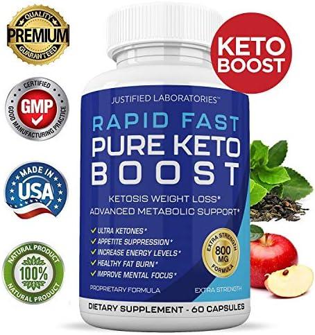 Rapid Fast Pure Keto Boost Pills Advanced BHB Ketogenic Supplement Exogenous Ketones Ketosis for Men Women 60 Capsules 1 Bottle 3