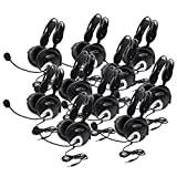 Califone 4100AVT-10L Deluxe Stereo Headset 10 Pack, Recessed Wiring Resists Prying Fingers for Safety, Single 3.5mm Stereo To Go, 4100AVT Volume, Black Color