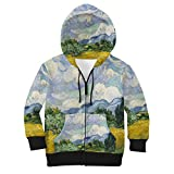 Vincent Van Gogh Fine Art Painting Kids Zip up Hoodie - 12 Unisex