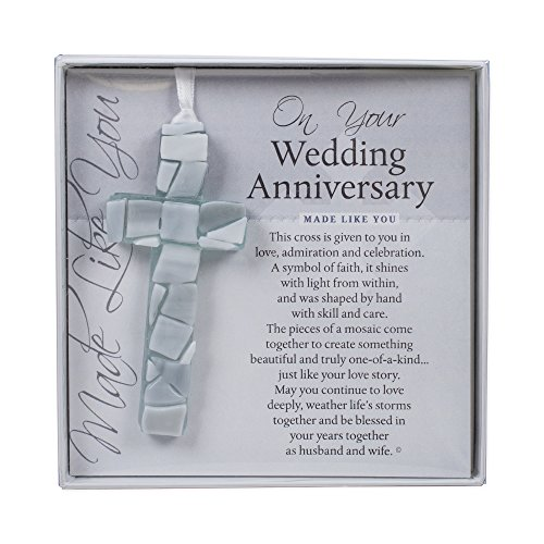 The Grandparent Gift Co. On Your Wedding Anniversary, Made Like You Gray Boxed Poem Mosaic Glass Cross Ornament
