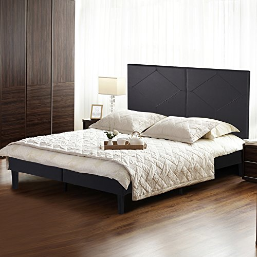 Olee Sleep Faux Leather Wood Slate Folding Platform Bed Frame Diamond Full 14PB01F