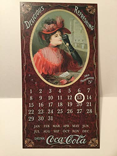 (Victorian Style Coke Calendar Tin Sign, Delicious Refreshing Coca-Cola)