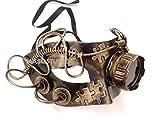 Steampunk Goggled Metallic Black Silver Gold Bronze Mens Masquerade Ball Mask Burlesque Dance Birthday Prom Party (Black Gold) (Gold)