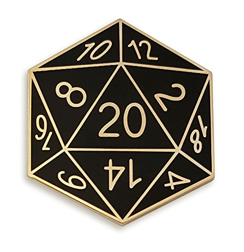 (Pinsanity Twenty-Sided Die Enamel Lapel Pin,Black,1.2 inch)