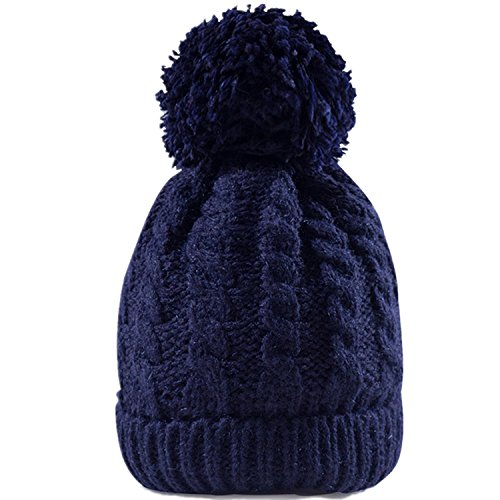 Blue Beanie Hat (MTR Women's Winter Beanie With Warm Lining - Thick Slouchy Cable Knit Skull Hat Pom Pom Ski Cap In 7 Colors (Navy Blue))
