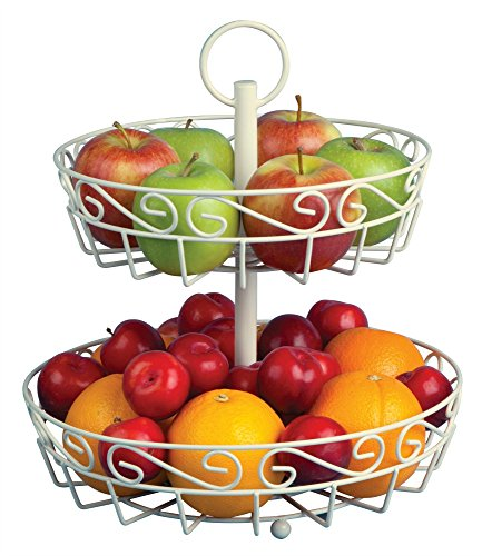 Deluxe cream fruit basket with FREE melon baller. Makes a stunning fruit bowl centerpiece. Fill your fruit bowl for a healthy snack with fresher fruit. Tier fruit basket has anti-scratch design.