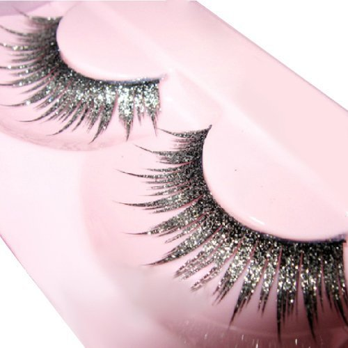Goege Shiny Long and Thick Exaggerated False Eyelashes Extension for Women Girls Cosplay Fancy Ball Halloween (Silver)]()