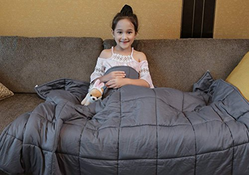 YnM Weighted Blanket (10 lbs, 41''x60'', Kid's Size), Premium Cotton & Glass Beads Gravity 2.0 Heavy Blanket, Great Sleep Therapy for People with Anxiety, Autism, ADHD, Insomnia or Stress