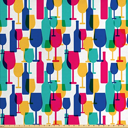 Lunarable Winery Fabric by The Yard, Cocktail Glasses and Wine Bottles Pattern Bar Menu Party Alcohol Drinks Festive, Decorative Fabric for Upholstery and Home Accents, 3 Yards, Multicolor