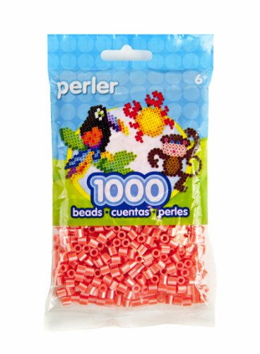 Perler Striped Beads 1,000/Pkg-Hot Coral Pearl