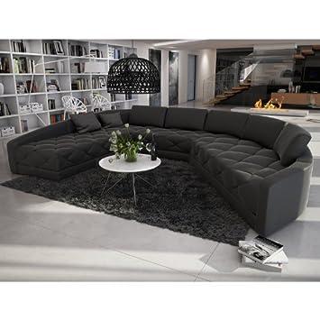 Sofa halbrund  XXL Wohn-Landschaft mit Kunstleder Bezug 380x290 cm halbrund ...
