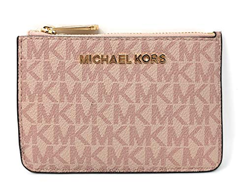 Michael Kors Jet Set Travel Small Top Zip Signature Coin Pouch ID Card Case Wallet In Ballet (Card Case Coin Purse)