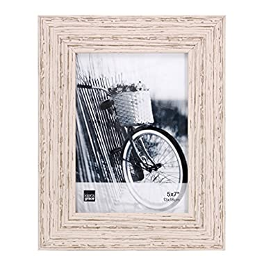 Kiera Grace Maya Picture Frame, 5  by  7 Inch , Weathered White Beachwood