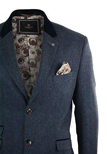 Peaky Marine Longueur Style Bleue Bleu Tweed Cavani Homme Mélangée Manteau Blinders Chevrons 3 Laine Vintage 4 AxZ4zqnx