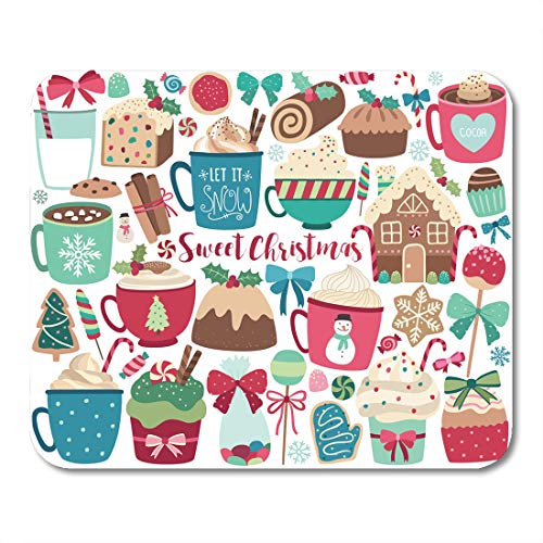 - Emvency Mouse Pads Cocoa Gingerbread Christmas Sweets and Treats Holiday House Cookie Mouse Pad for notebooks, Desktop Computers mats 9.5