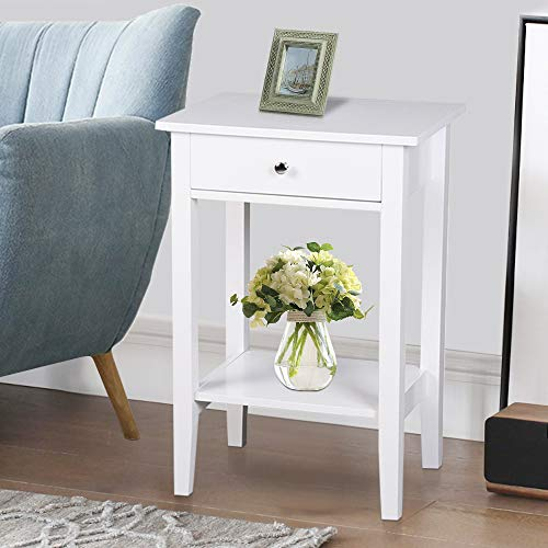 SSLine Tall Chairside End Table W Shelf Wooden Bedside Table Night Stand with Storage Drawer White Finish Modern Sofa Couch Side Coffee Table Telephone Table Accent Furniture
