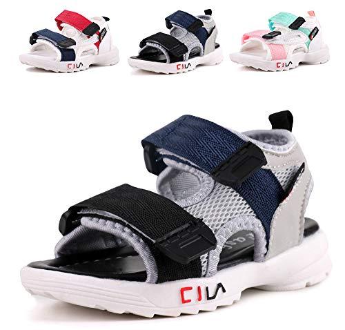 - LONSOEN Boys Girls Outdoor Athletic Sport Sandals Kids Hiking Water Beach Sandal Shoes,KSD011 Black/Deep Blue CN28