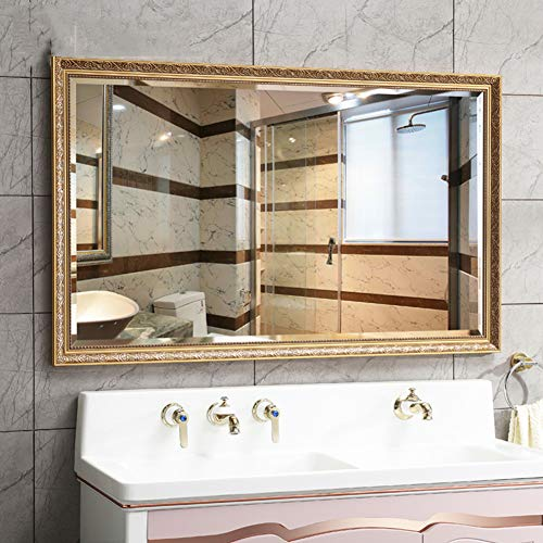 Golden Rectangular Bathroom Mirror, European Ornate Wall Mounted Mirror, Hotel Beauty Salon -