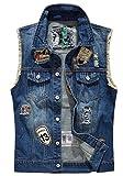 Oberora Mens Top Design Hip Hop Denim Vest Waistcoat with Holes Blue L