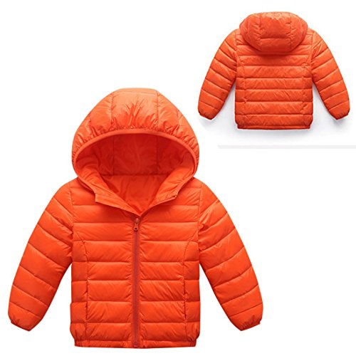 AIEOE 8T Girls Long Zipper Hooded Winter Jacket Coat Outwear Up Orange Down 3 Sleeve rgrxn7R