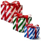 Prextex Set of 3 Christmas Lighted Red Green and