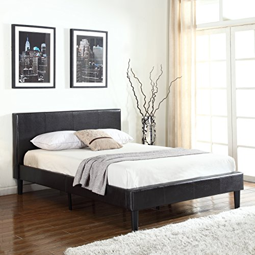 Deluxe Espresso Brown Bonded Leather Platform Bed with Wooden Slats (Espresso Brown Leather)