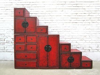 Luxury-Park China - Cómoda para escaleras (Varios cajones, utilizable por Ambos Lados), Color marrón Rojizo: Amazon.es: Hogar
