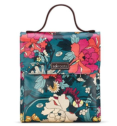 Sakroots Flap Lunch Box, Teal Flower Power