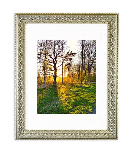 Golden State Art, 11x14 Ornate Finish Photo Frame, Silver Beige Color, with Ivory Mat for 8x10 Picture & Real Glass
