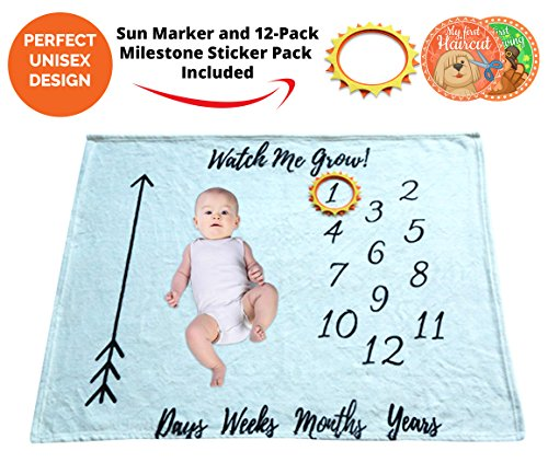 Baby Monthly Milestone Blanket Girl/Boy & Month Milestones Growth Stickers Set for pictures & Memory-Swaddling Blankets-Newborn Infant Personalized Customize Photography Photo Props Backdrops Supplies