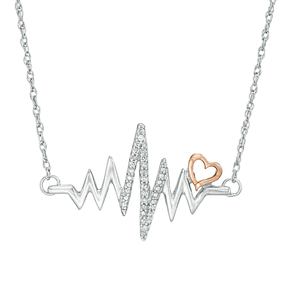 10k Two Tone Gold 0.10 Ct Round Cut Simulated Diamond Heartbeat Pendant With 18 Chain .925 Silver