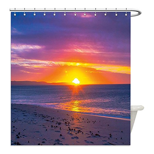 Liguo88 Custom Waterproof Bathroom Shower Curtain Polyester Beach Calm Tranquil Sunset at Exotic Sandy Seashore Coastal Dramatic Vibrant Photo Purple Pink Orange Decorative - Galleria The Sunset At