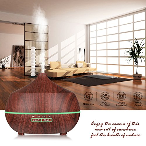 Aromatherapy Essential Oil Diffuser,Tenswall 400ml Ultrasonic Cool Mist Humidifier with 7 Color LED Lights Waterless Auto Shut-off Aroma Diffuser