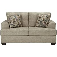 Benchcraft Barrish Collection 4850135 69 Loveseat with Fabric Upholstery Tri-Block Feet Removable Seat Cushions and Traditional Style in