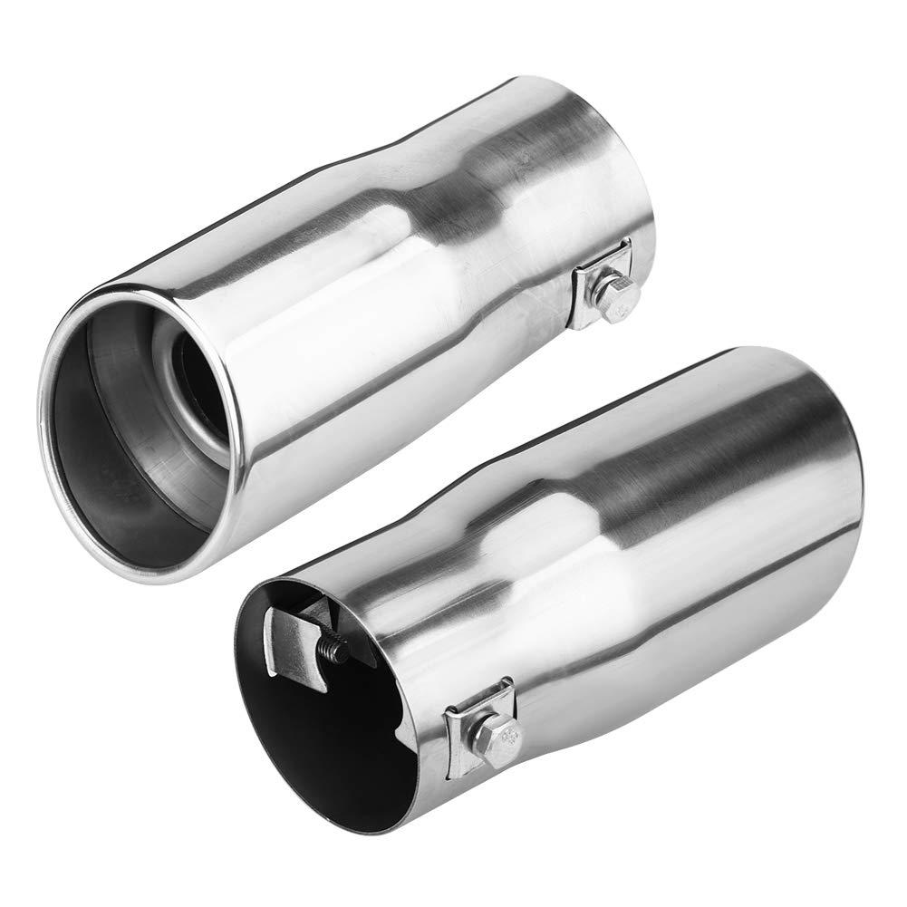 Plat EBTOOLS Garniture de tuyau d/échappement arri/ère universelle en acier inoxydable Embout de voiture Queue de silencieux