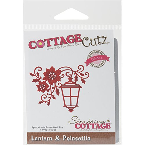 CottageCutz Lantern & Poinsettia Elites Die, 3.6'' by 2.9'' by CottageCutz