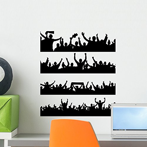 Wallmonkeys Sports Fans Cheering Wall Decal Sticker Set Individual Peel and Stick Graphics on a (18 in H x 16 in W) Sticker Sheet WM366455 - Paint Team Graphic Kit