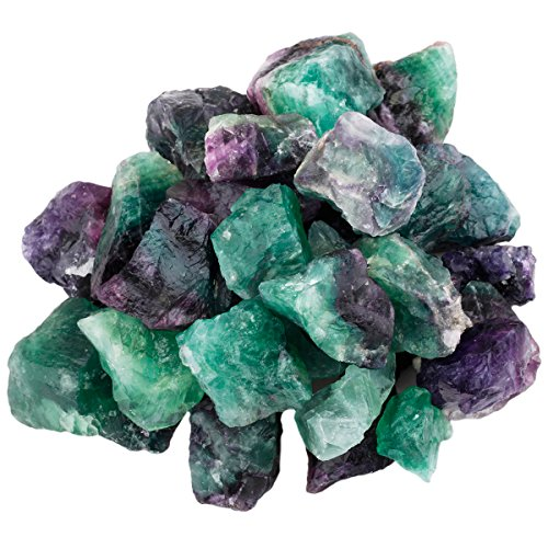 SUNYIK Natural Raw Stones Rough Rock Crystals for Tumbling,Cabbing,Fluorite,1pound(About 460 Gram)