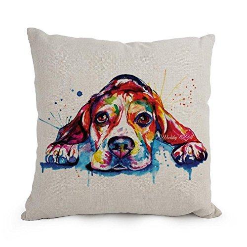 [Dog Art WaterColor Pillow Cases 18 X 18 Inches / 45 By 45 Cm Gift Or Decor For Outdoor,car Seat,him,husband,dining Room,floor - Double] (Hobbes Costumes For Sale)