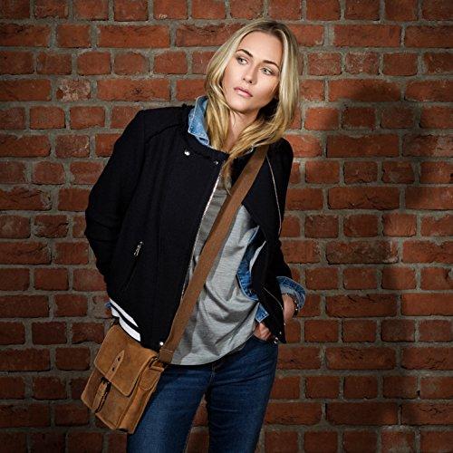 Scotch & Vain sac à bandoulière HARRY - petit - sac en cuir avec sangle style Vintage - sacoche beige-marron en cuir véritable