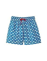 Azul Baby Boys Blue Fish Line Print Drawstring Waist Swim Shorts 12-24M