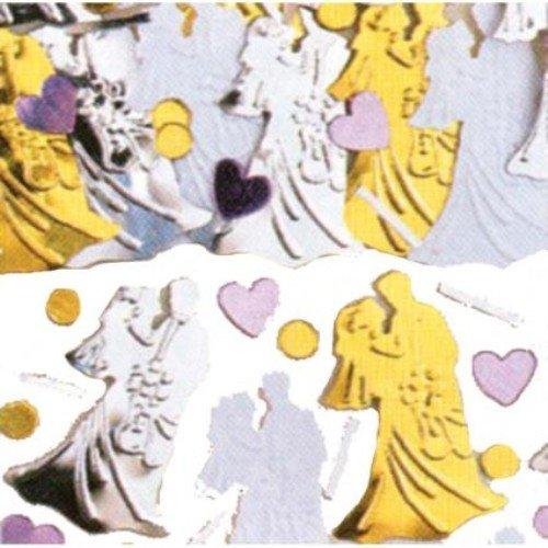 Bride & Groom Gold,silver And White Confetti 14g