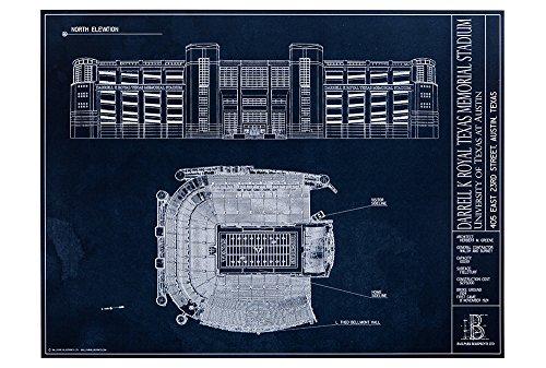 (Darrell K Royal Texas Memorial Stadium Blueprint Style Print (Unframed, 18