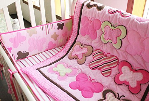 NAUGHTYBOSS Girl Baby Bedding Set Cotton 3D Embroidery Butterfly Quilt Bumper Mattress Cover 7 Pieces Set Pink Color by NAUGHTYBOSS