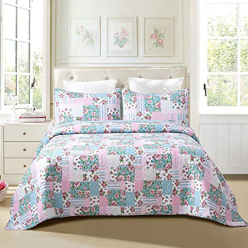 Sole & Lane Layla Patchwork 2-Piece 100% Cotton Lightweight Printed Quilt Set (Twin) | with 1 Sham Machine Washable All-Season Bedspread Coverlet ()