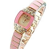 TODDCAHALAN Fashion Women's Rhinestone Beads hearts Quartz Analog Pink Bracelet Wrist Watch