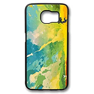 iCustomonline Galaxy S6 Edge Case Landscape Painting Black Plastic Hard Back Protector Snap On for Samsung Galaxy S6 Edge