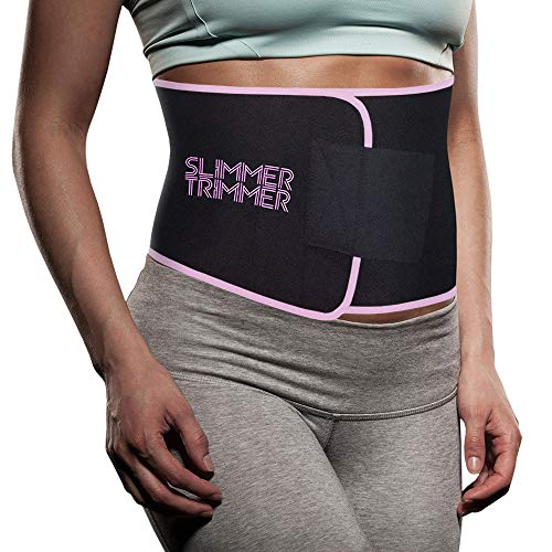 Slimmer Trimmer Premium Waist Trimmer - Weight Loss Sweat Belt Waist Trainer for Women + Men Adjustable Thermal Stomach Slimming Wrap. Belly Fat Burner, Abdominal Lower Back Support (S-M - Up to 41